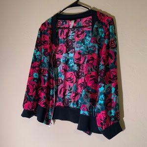 Xhilaration Jackets & Coats - Floral Wind Suit Type Jacket